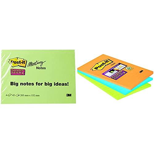 Post-it 6845-SSP Notas adhesivas, 45 hojas, 203 x 152 mm, Colores Surtidos, Paquete de 4 + Super Sticky 46453SSA, Pack de 3 Blocs de Notas Adhesivas, 101 x 152 mm, Color Naranja/Azul/Verde