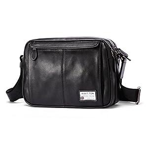 HAUTTON ショルダーバッグ 本革牛皮 カバン 鞄 カウレザー 斜め掛け 肩掛け 大容量 通勤 ファション 人気 メンズ レディース ブラック HD004