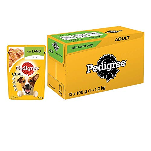 Pedigree Vital Protection Adult Wet Dog Food , Lamb in Jelly, 12 Pouches (12 x 100g)