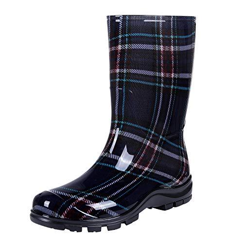Women's Mid Calf Rain Boots Buffalo Plaid Short Waterproof Garden Shoes, Navy, 6