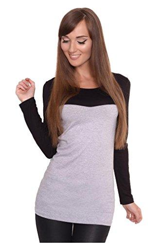Dames trui met lange mouwen shirt bovendeel blouse tweekleurig sweatshirt top in 8 kleuren maat S, M, L, XL, 2XL, 3XL.