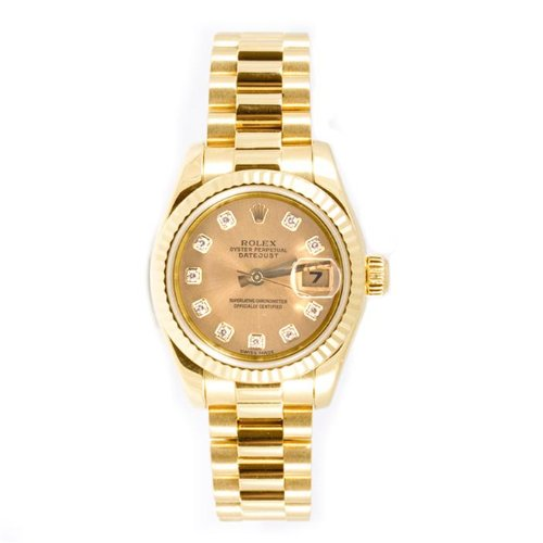 Rolex Ladys President New Style Heavy Band 18k Yellow Gold Model 179178 Fluted Bezel Champagne Diamond