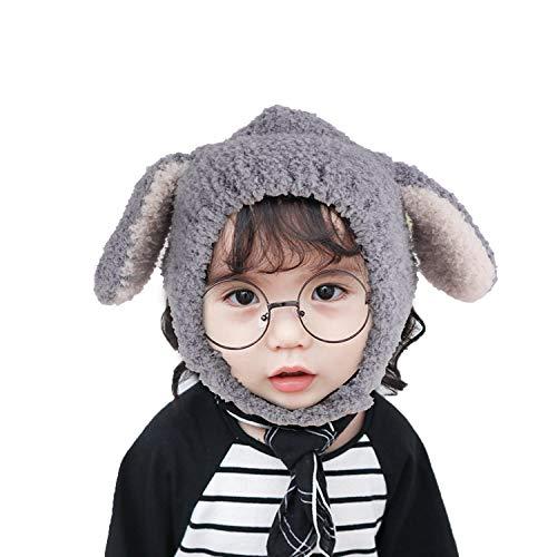 YJZQ - Gorro de punto para niña, niña, niña, niña, bebé, sombrero, sombrero, disfraz de conejo para bebé de 0 a 2 años gris Talla única