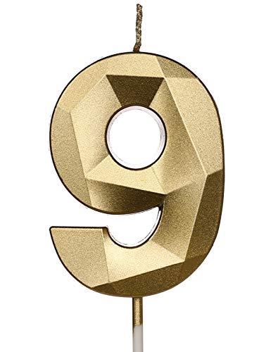 PartyWoo Geburtstagskerzen Zahlen, Gold Geburtstagskerzen, Kerzen Geburtstag, Geburtstag Kerzen, Tortendeko Geburtstag, Kuchendeko Geburtstag, Geburtstagskerzen für Geburtstagsdeko (Nummer 9)