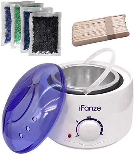 Wax enthaarung, Wachswärmer/Wachserhitzer mit 4X100g Wachsperlen für haarentfernung, iFanze Komplett Wachs Haarentfernung set - schmerzfrei - einfach und schnell