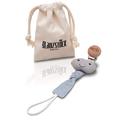 Glanzstück Berlin® Kids Collection: DAS ORIGINAL - Schnullerkette/Schnullerband/Nuckelkette aus Baumwoll-Musselin für Jungs & Mädchen, Holz-Clip (washed-grau)