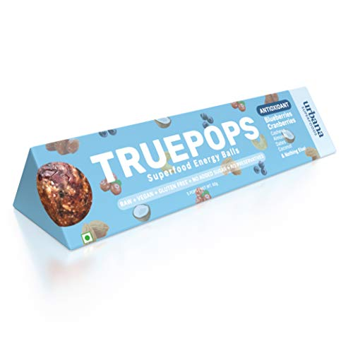 Urbana Superfoods Truepops Superfood Energy Balls – Natural, Vegan, Non-Dairy, Gluten-Free, Keto, Weight-Loss Friendly, Blueberry Cranberry 4 Packs, 240g (4 x 60g)