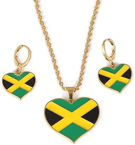 Collar Mapa Del Corazón De Jamaica Bandera Nacional Collares Pendientes Pendientes Joyería Regalos De Jamaica