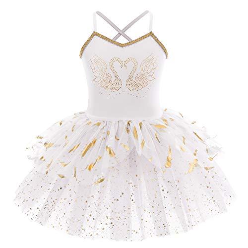 OBEEII Maillot de Ballet Niña Tutú Vestido Sin Mangas Pluma Leotardo de Una Pieza Traje de Baile Gimnasia Fiesta Carnaval Dancewear