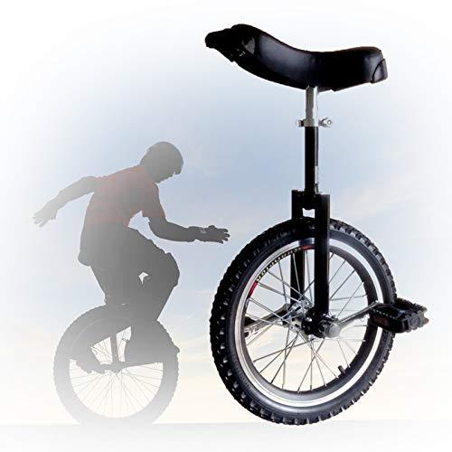 GAOYUY Monociclo De Rueda De 16/18/20/24 Pulgadas, Monociclo Trainer Freestyle Altura Ajustable Neumático De Montaña Antideslizante para Adultos Niños (Color : Black, Size : 20 Inch)