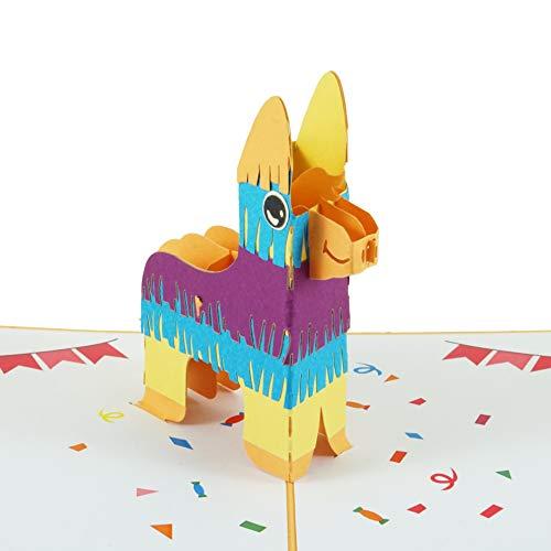 Verjaardagskaart Lama Pinata, 3D-kaart inclusief envelop, grappige pop-up kaart voor verjaardag, als wenskaart, wenskaart, cadeaukaart of voucher