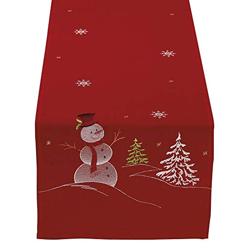 DII Christmas Holiday Embroidered Table Runner 14 x 70, Snowman