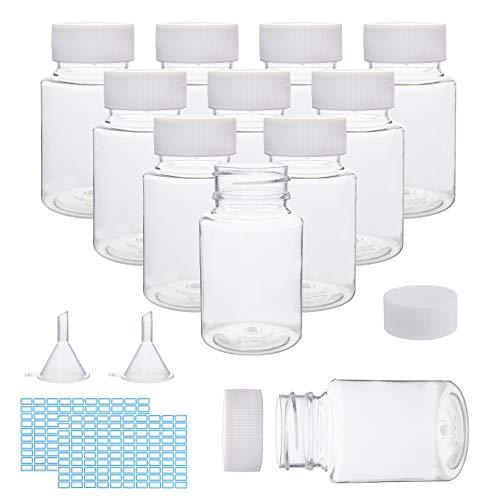 PandaHall 25 botellas cilíndricas de plástico transparente vacías 2 piezas embudo Hopper 60 piezas blanco rectangulares etiquetas autoadhesivas para polvo sólido líquido uso doméstico