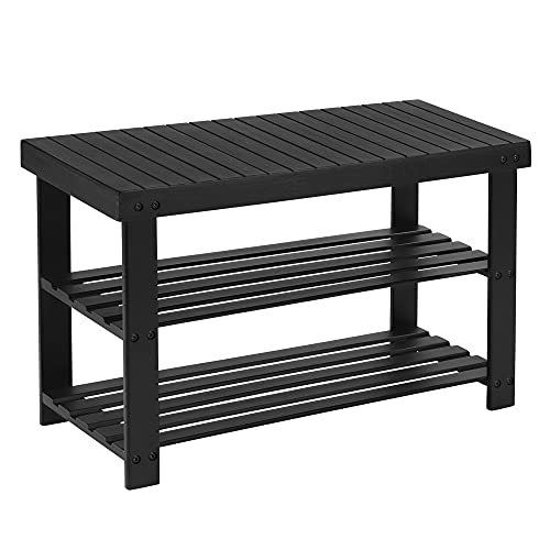 SONGMICS Sturdy Shoe Rack Bench,3-Tier Bamboo Shoe Organizer,Storage Shelf Holds Up to 264 Lbs,ideal for Entryway Bathroom Living Corridor