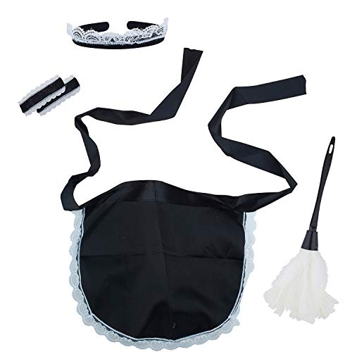 Lux Accessories Black White Naughty Cleaning Lady Cosplay Costume Dressup Set