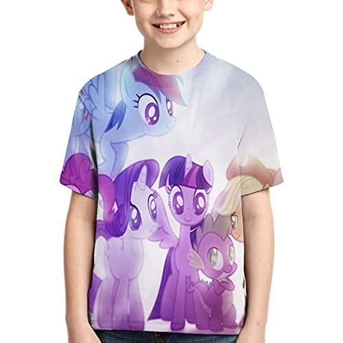 My Little Rainbow Pony Kurzarm Kinder T-Shirt für Jungen Mädchen 3D Print T-Shirt
