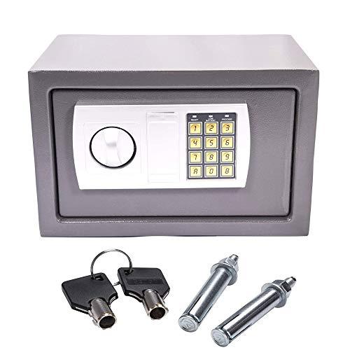 Klein Safe Tresor Elektronisch LED Doppelbolzenverriegelung Wandtresor Wandsafe Schranktresor Geldschrank Möbeltresor Geldsafe (Grau, 31x20x20cm)