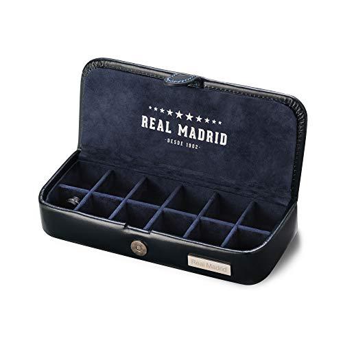 Real Madrid - Premium Qualität Leder Handgemachte Manschettenknöpfe . Box für Zubehör wie Pins, Krawattenbindungen oder kleine Juwelen. Ideal für Reisen. Farbe Blau RMJ-80006