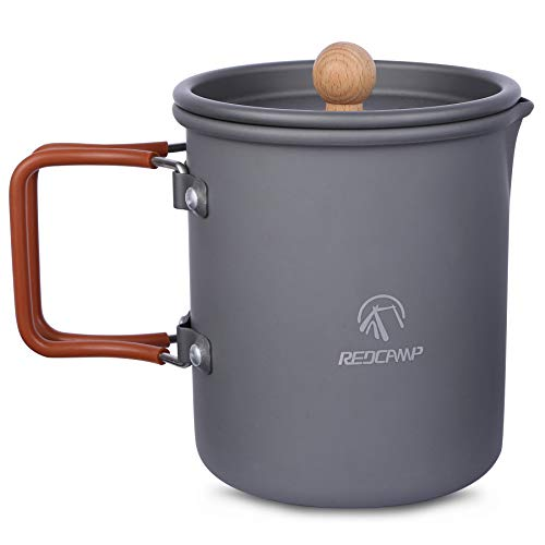 REDCAMP 600ml Aluminium Camping Cup Coffee Pot with Foldable Handle, Lightweight Camping Coffee Mug for Outdoor Cooking Backpacking Hiking