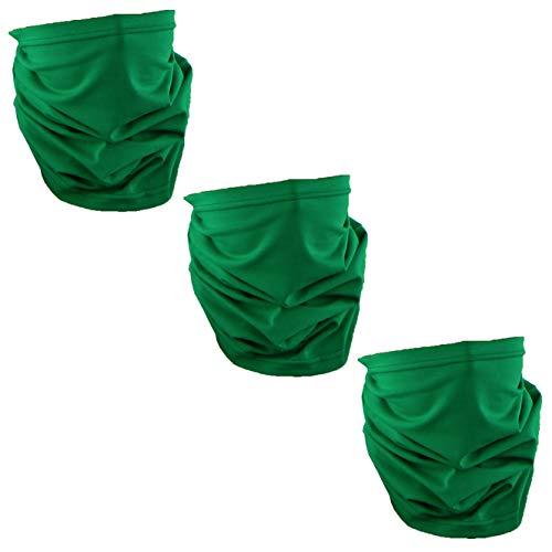 Solid Green USA Made Cotton Neck Gaiter Face Mask Bandana Tube Scarf - Set of 3