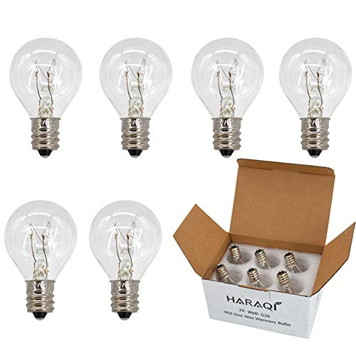 Wax Warmer Bulbs,20 Watt Bulbs for Middle Size Scentsy Warmers,G30 Globe E12 Incandescent Candelabra Base Clear Light Bulbs for Candle Wax Warmer,Long Last Lifespan 6 Pack