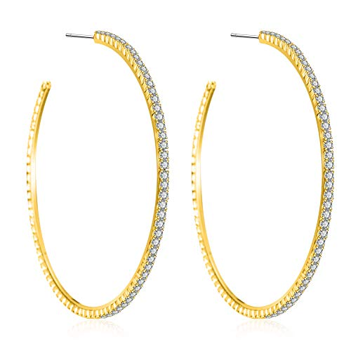 "18K Gold Plated Hoops Earrings 2"", Crystal Rhinestone Hoop Earring 925 Silver Post Gift for Women"
