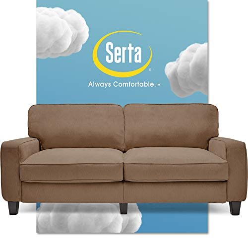"""Serta Palisades Upholstered Sofas for Living Room Modern Design Couch, Straight Arms, Soft Fabric Upholstery, Tool-Free Assembly, 78"""", Tan"""