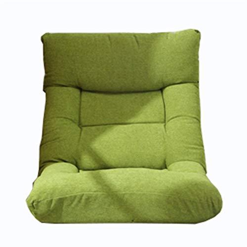 WHOJA Sofá Perezoso sillón 14 velocidades Ajustables Tejido de algodón y Lino. Cómodo y Transpirable Silla de computadora Adecuado para Dormitorio Sala de Estar 120x60x15cm Sillon Relax(Color:Verde)