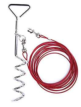 Darkyazi Dog Stake Tie Out Cable and Reflective Stake 16 ft Outdoor Yard and Camping for Medium to Large Dogs Up to 125 lbs 16ft Cable 18  Stake Red