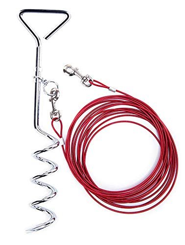 "Dog Stake Tie Out Cable and Reflective Stake 16 ft Outdoor, Yard and Camping, for Medium to Large Dogs Up to 125 lbs(16ft Cable, 18"" Stake, Red)"