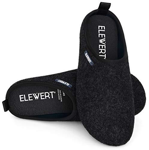 ELEWERT® – Hausschuhe für Herren/Damen - Natural - Pantoffeln/Slipper – für Drinnen und Draußen - herausnehmbares Fußbett - rutschfeste Gummisohle - Schwarz, EU 43