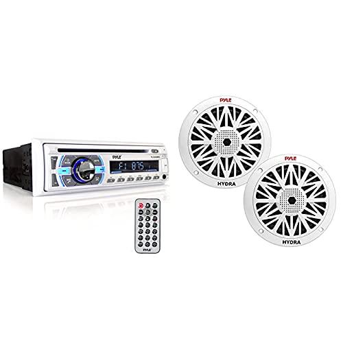Boat Bluetooth Marine Stereo Receiver - Marine Head Unit Din Single Stereo Speaker Receiver - Pyle PLCD43MRB & 6.5 Inch Dual Marine Speakers - 1 Pair - PLMR62 (White)