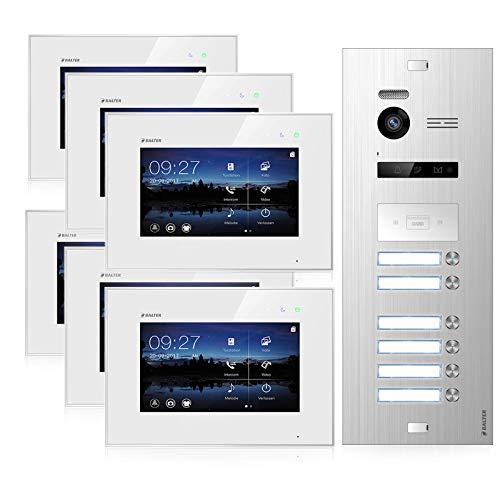 BALTER EVO Video Türsprechanlage ✓ Touchscreen 7 Zoll ✓ Türstation für 6 Familienhaus Türklingel ✓ 2-Draht BUS ✓ 150° Weitwinkel-Kamera ✓ RFID