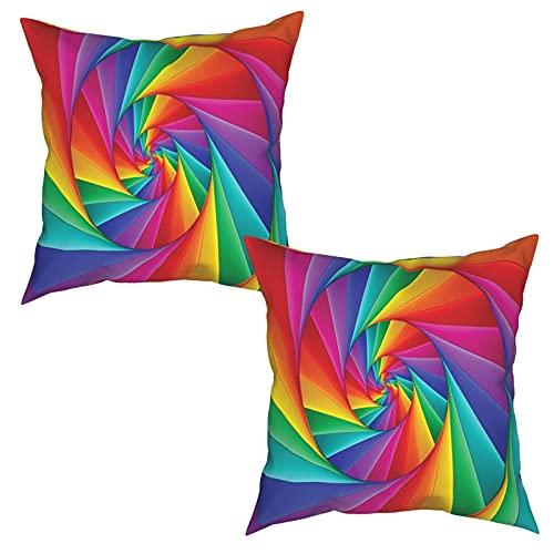 Pack de 2 Fundas de Almohada,Arte Abstracto Espiral psicodélico en Vivos Colores del Arco Iris,Funda de Cojín Cuadrado de Protectora de Almohada para Sofá Cama Decoración del Hogar (45x45cm) x2
