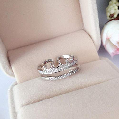 PRAK Anillo de plata de ley 925 ajustable para mujer, con corona brillante, anillo de doble diamante para mujer, regalo de boda, vestidos de noche