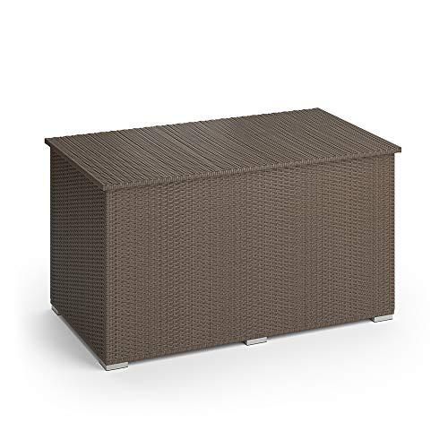Oskar XXL Polyrattan Kissenbox 950L Auflagenbox Gartenbox Gartentruhe (Braun)