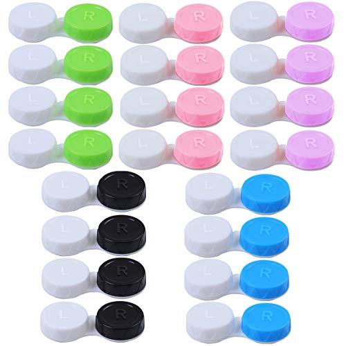 20PCS Kontaktlinsenbehälter, Schutzhülle zu Kontaktlinsen und integriertem Spiegel, Kontaktlinsen, Brillenetui Tragbar, Reise Kontaktlinsen Set für Zuhause und Reisen - Grün, Blau, Rosa, Schwarz