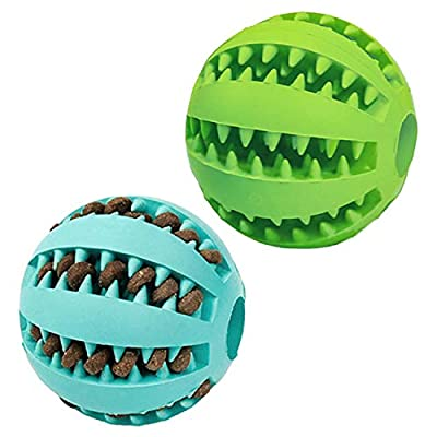 Eileen&Elisa Interactive Toys for Dogs, Dog Puzzle Slow Feeder Toy, Dog Treat Ball, Dog Teeth Cleaning Ball, Chew Toys for Dogs, Interactive Toys ball for Dogs&Cats Dispensing/2pcs/pack (L2.8inch)