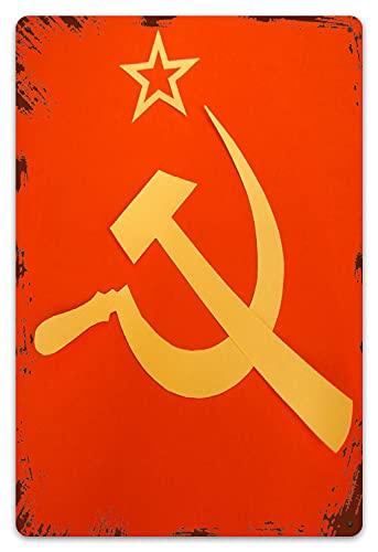 MIFSOIAVV Targhe in Metallo Vintage Placca Poster Comunista CCCP Bandiera con Falce e Martello,Simboli del Comunismo Decorativa Appendere Quadro per Bar Pub Arredo Murale 20x30cm