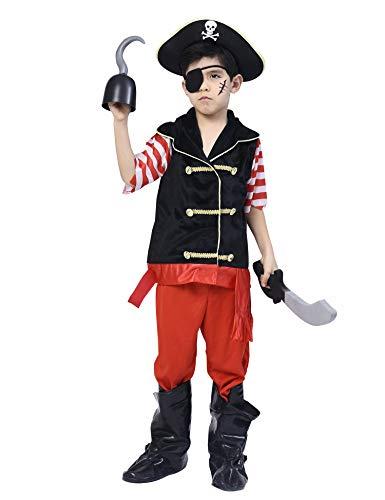 IKALI Disfraz de Pirata para niño, Bucanero Equipo con el capitán Hat (Set de 5 Piezas) 7-8años