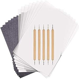 150 Hojas A4 Papel Transfer de Carbón Papel de Calco con Stylus Pen 5 unids para Madera, Papel