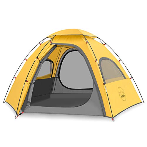 KAZOO Outdoor Family Tent Durable Lightweight, Waterproof Camping Tents Easy Setup, Beach Screen Tent Sun Shade 3 Person (Yellow)