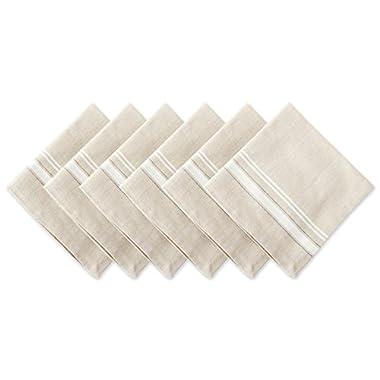 DII 100% Cotton, Oversized Basic Everyday 20x20  Napkin Set of 6, White French Stripe
