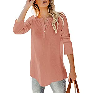 Women's Henley Shirts Sweaters V Neck Button Down Long Sleeve Casual ...