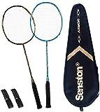 Senston Badminton Racket S-300 Graphite Full Carbon Badminton Racquet (White/Black/Blue) with Premium Quality