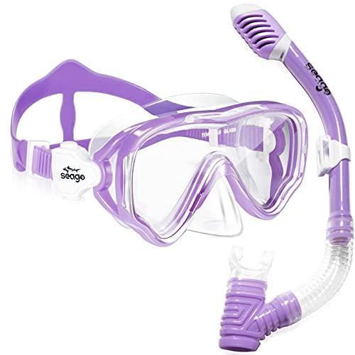 Seago Kids Snorkel Set Dry Top Snorkel Mask Snorkeling Gear for Kids Boys Girls Youth, No Leak Comfy Mouthpiece Anti-Fog 180° Panoramic View Scuba Diving Swim Pool Equipment Snorkeling Kit