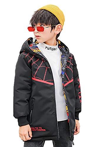 SG-TECH Manteau Gar篮 Hiver Coton pour Gar篮 Coupe-Vent ࠃapuche pour Enfant Veste Chaude Spiderman Dessin Anim頄ouble Face,120,Noir