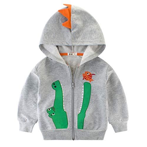 ShenzhenWindyTradingCo.,Ltd Kinder Kapuzenjacke Baby Jungen Reißverschluss Dinosaurier Baumwolle Sweatshirts Tops Outfits 1-2 Jahre