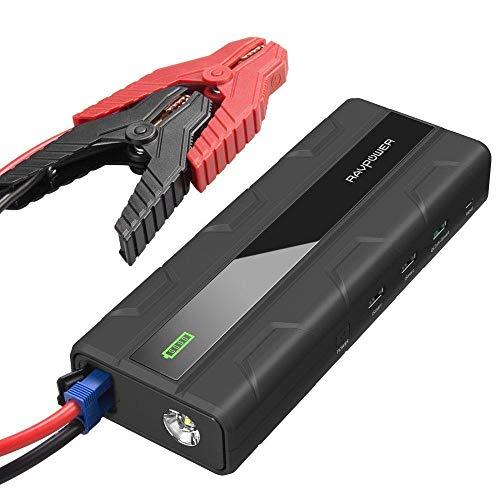 Avviatore per Auto da 1000A RAVPower Caricabatterie di Emergenza 14000mAh ( Jump Starter con 1 Porta di Ricarica USB Quick Charge 3.0 e 2 Porte iSmart, Torcia LED di Emergenza ) Perfetto per tutti i Motori Diesel o a Benzina fino a 7L con Batteria da 12V