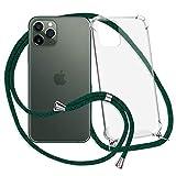 mtb more energy® Collar Smartphone para Apple iPhone 11 Pro (5.8'') - Verde Oscuro - Funda Protectora ponible - Carcasa Anti Shock con Cuerda